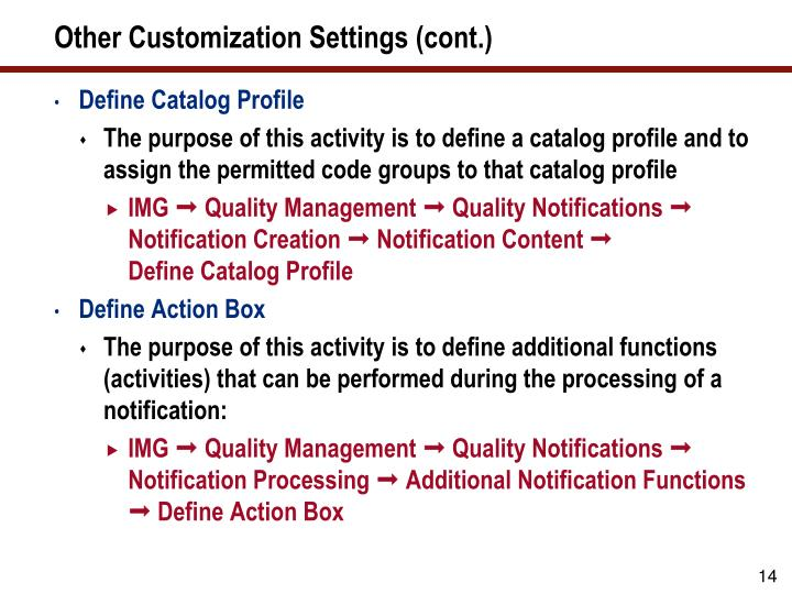 Other Customization Settings (cont.)
