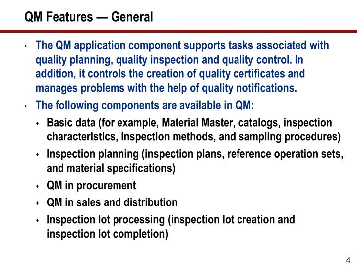 QM Features