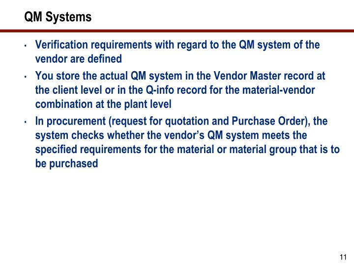 QM Systems