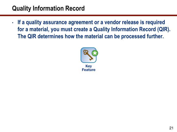 Quality Information Record