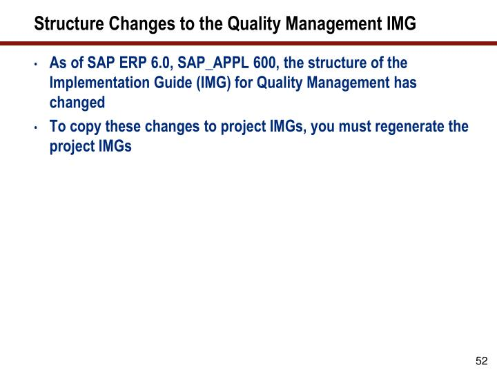 Structure Changes to the Quality Management IMG