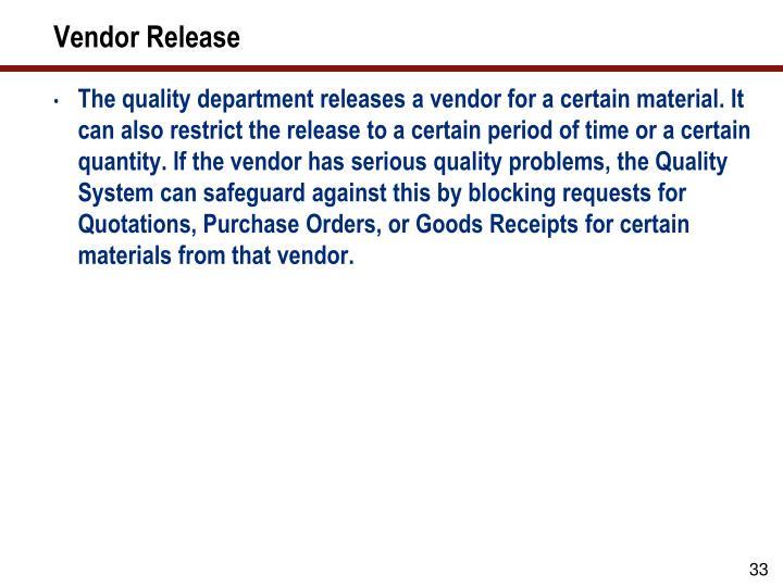 Vendor Release
