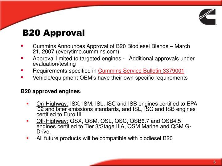 B20 Approval