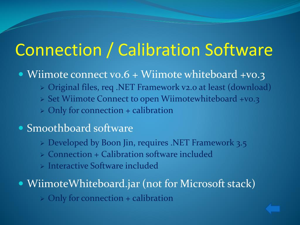 Connection / Calibration Software