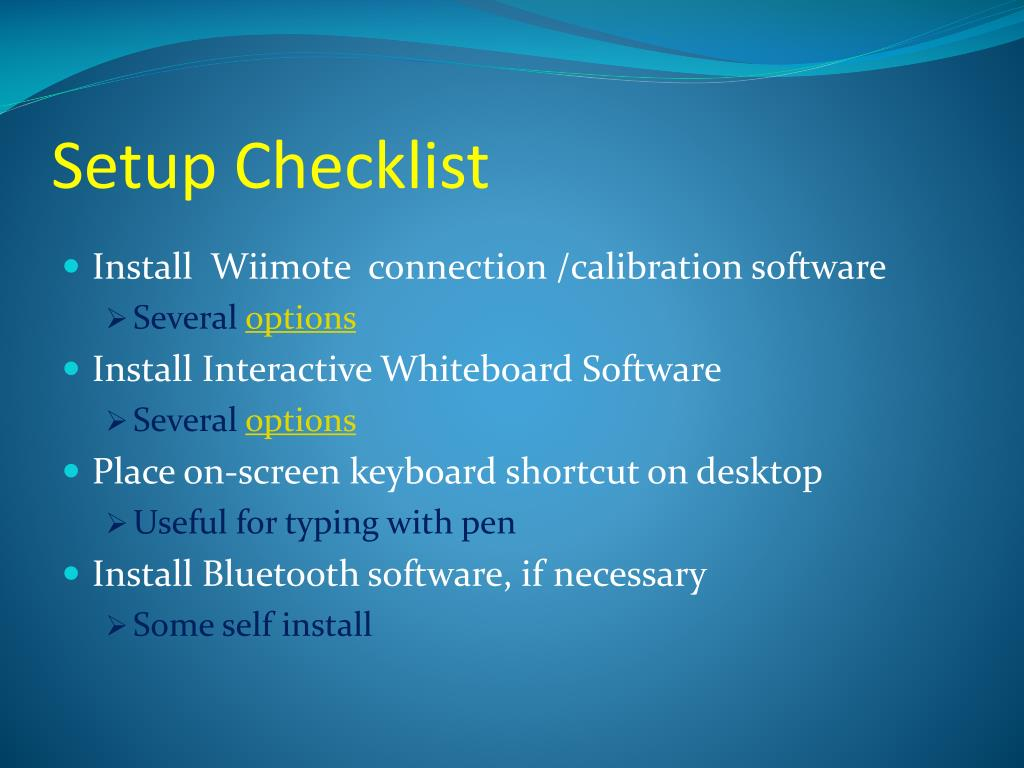 Setup Checklist