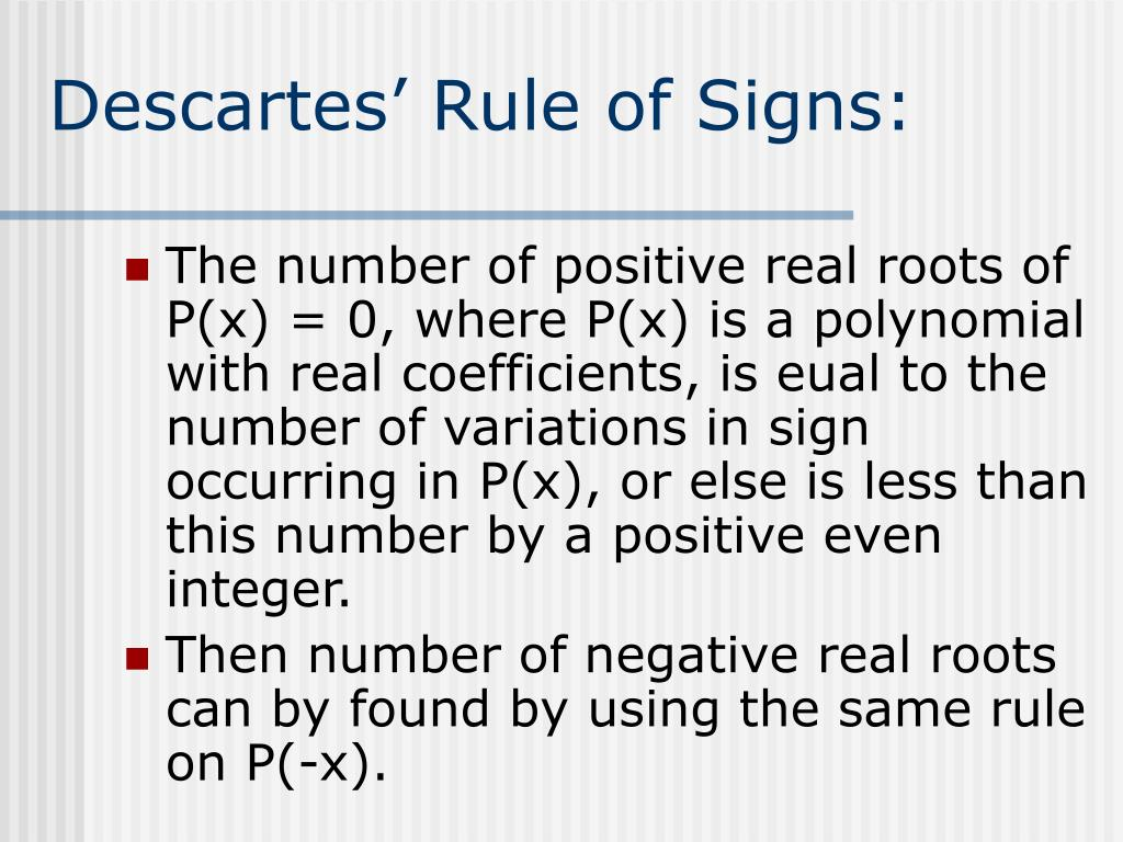 Descartes' Rule of Signs: