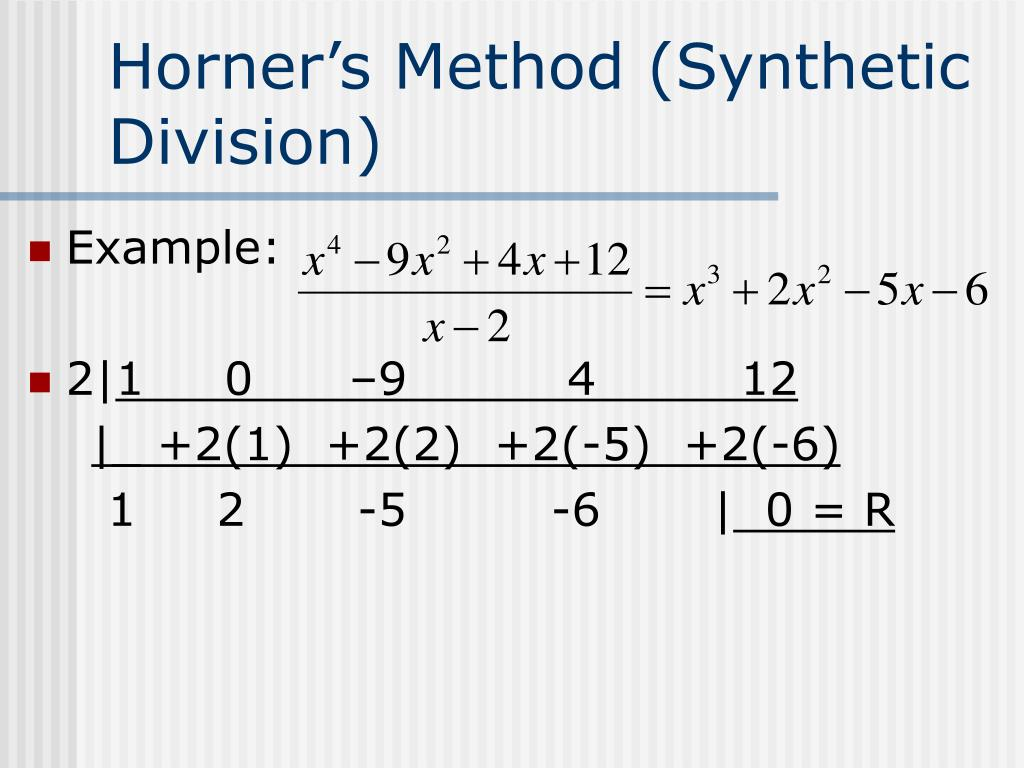 Horner's Method (Synthetic Division)