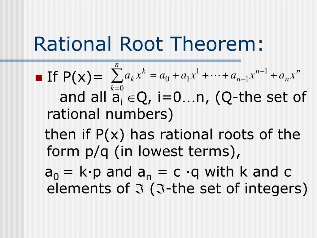 Rational Root Theorem:
