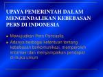upaya pemerintah dalam mengendalikan kebebasan pers di indonesia