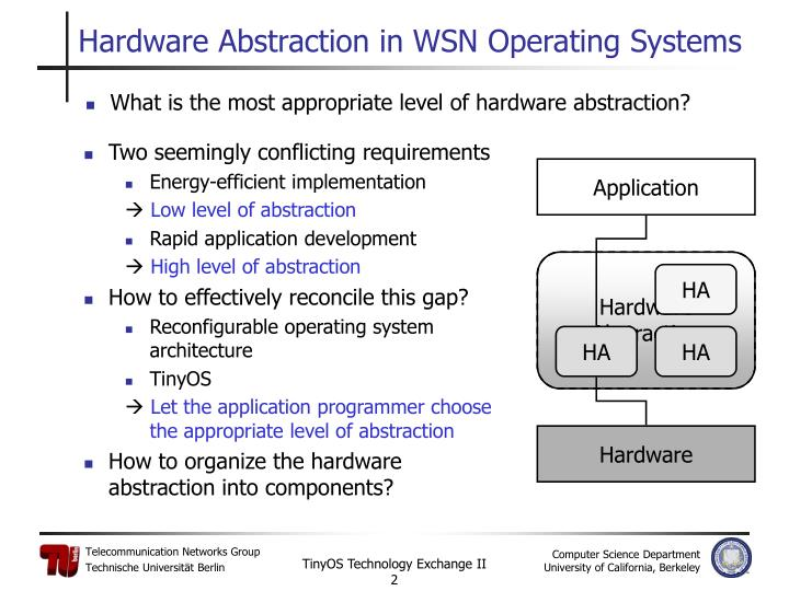 Hardware abstraction in wsn operating systems