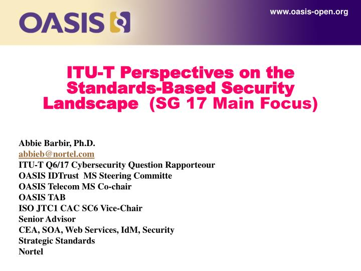 Itu t perspectives on the standards based security landscape sg 17 main f ocus