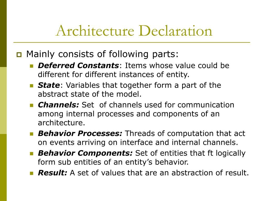 Architecture Declaration