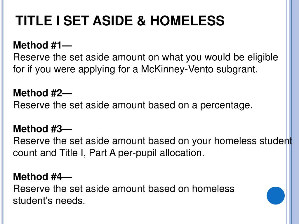 Title I Set Aside & HOMELESS