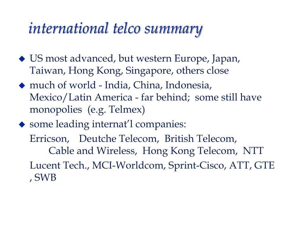 international telco summary