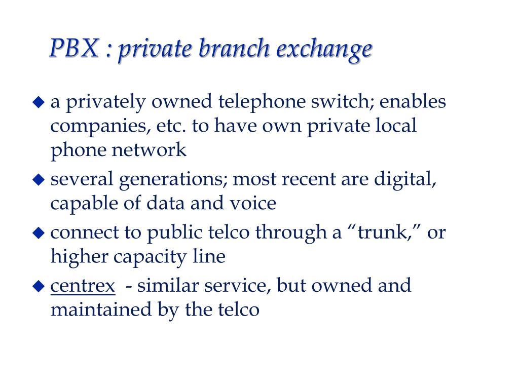 PBX : private branch exchange