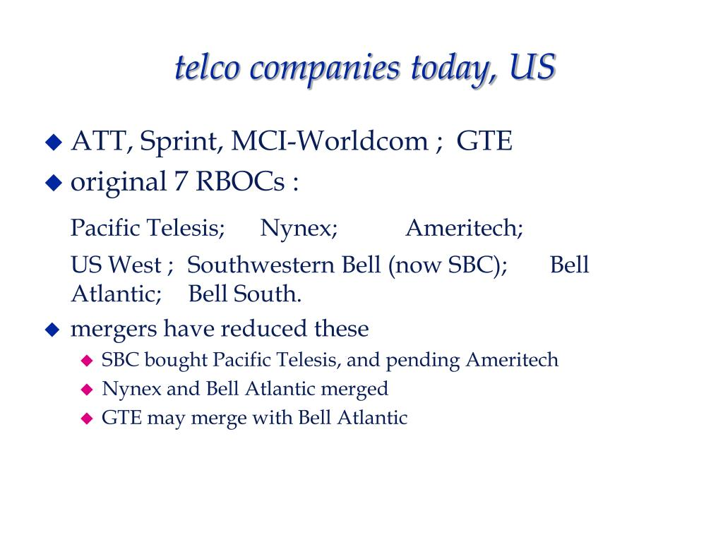 telco companies today, US