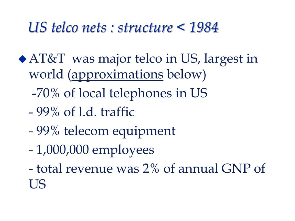 US telco nets : structure < 1984