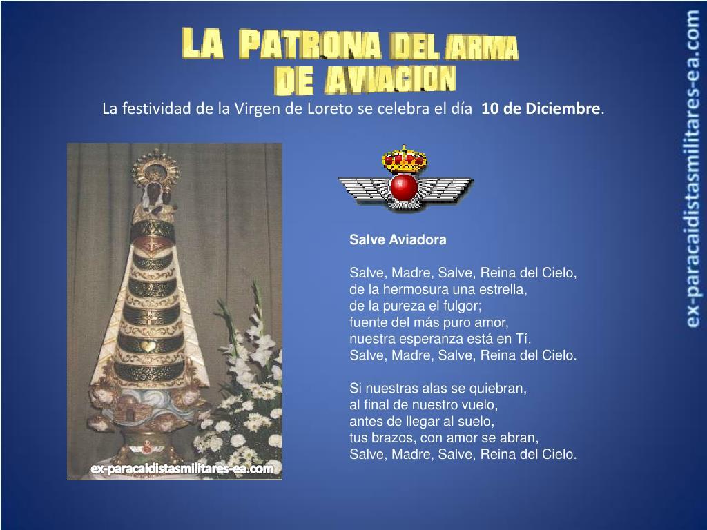 La festividad de la Virgen de Loreto se celebra el día