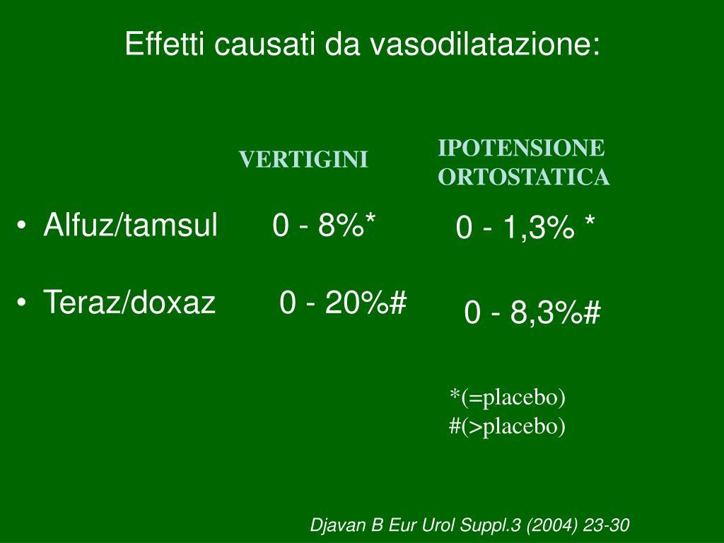 Effetti causati da vasodilatazione: