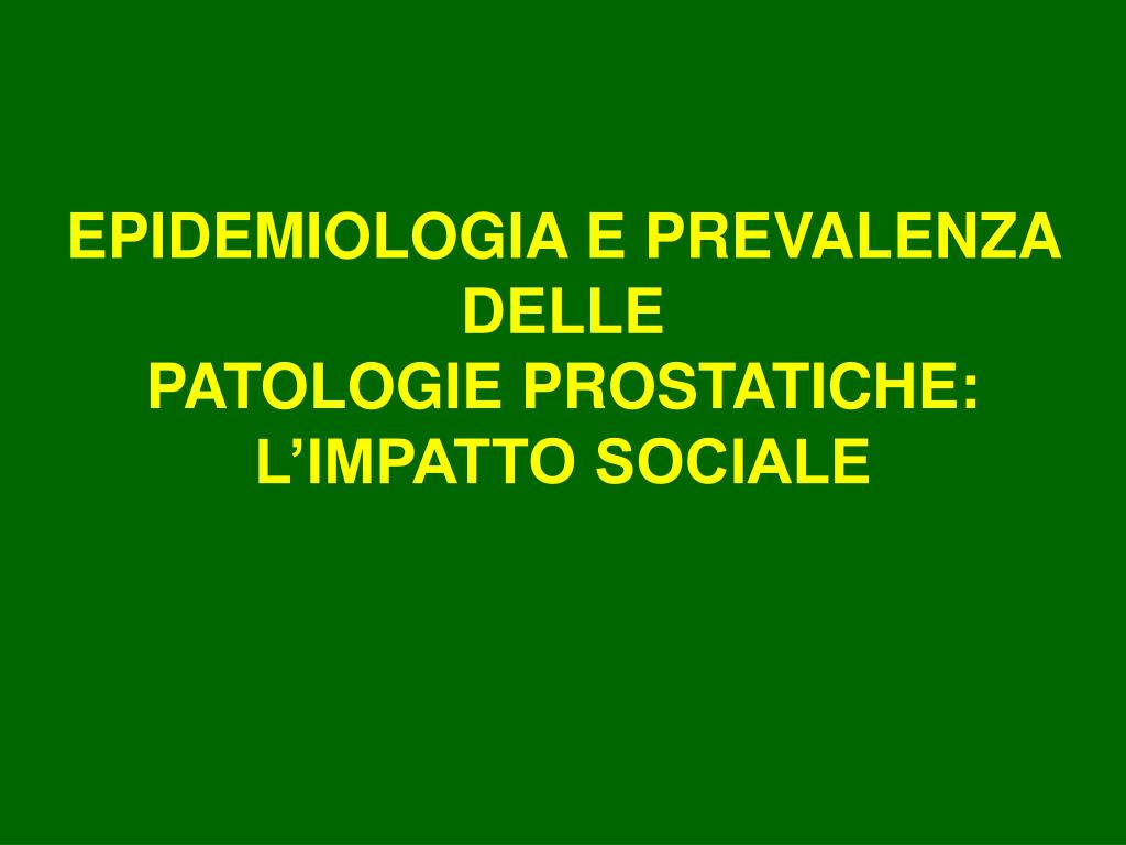EPIDEMIOLOGIA E PREVALENZA