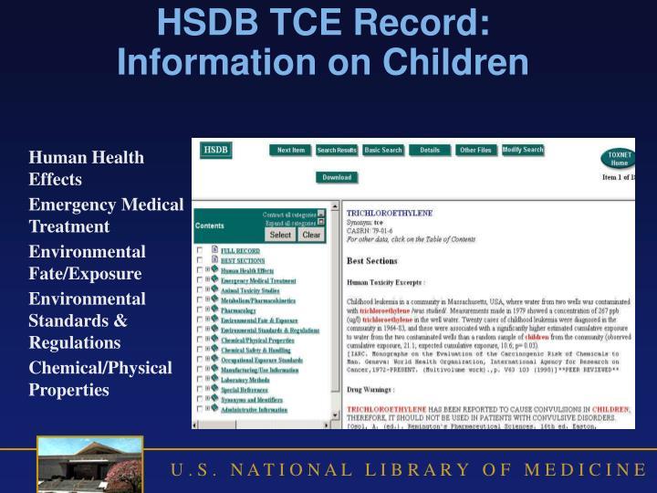 HSDB TCE Record: