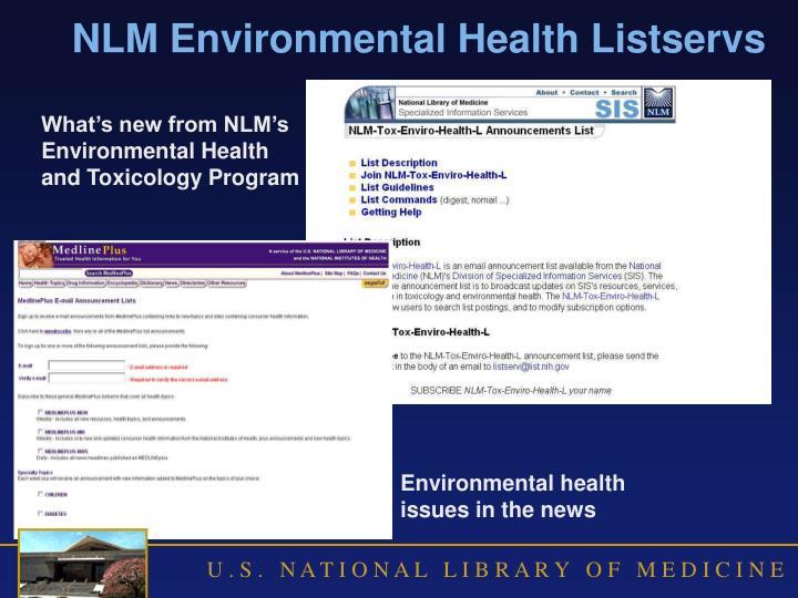 NLM Environmental Health Listservs
