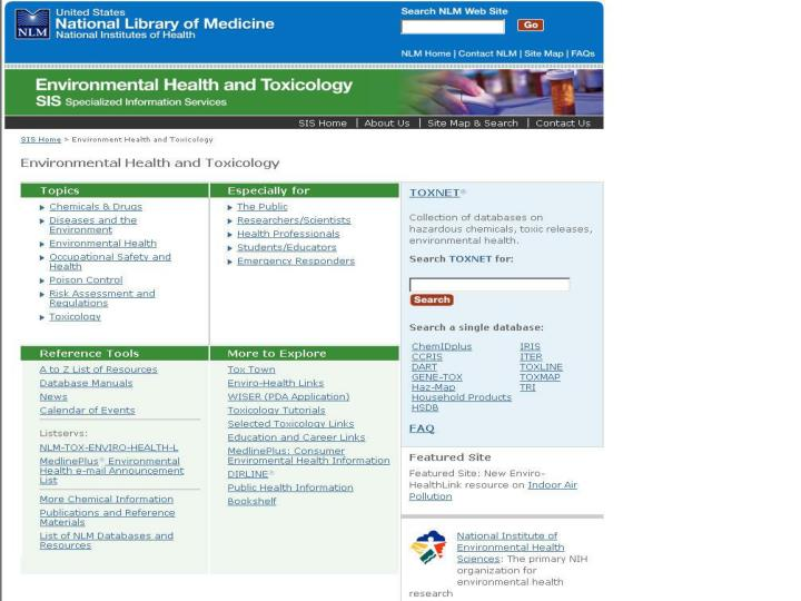 Toxicology and environmental health information http tox nlm nih gov