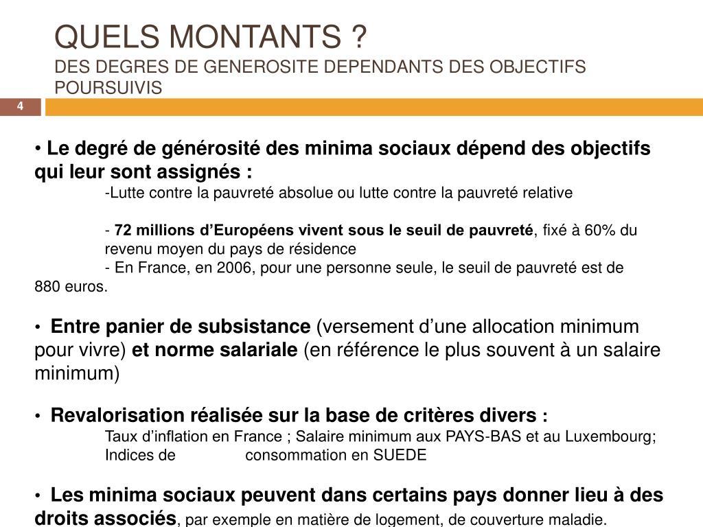 QUELS MONTANTS ?