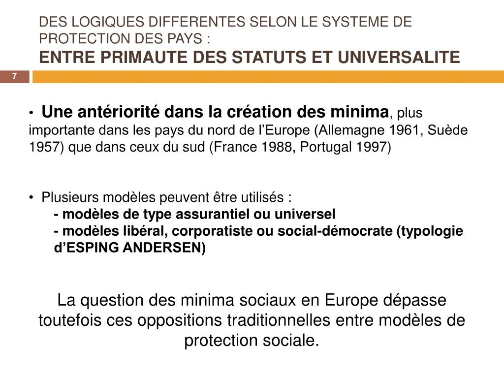 DES LOGIQUES DIFFERENTES SELON LE SYSTEME DE PROTECTION DES PAYS: