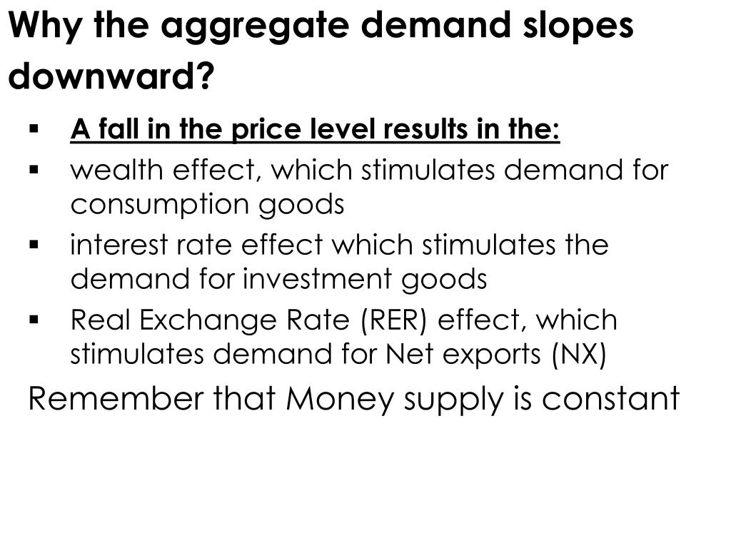 Why the aggregate demand slopes downward?