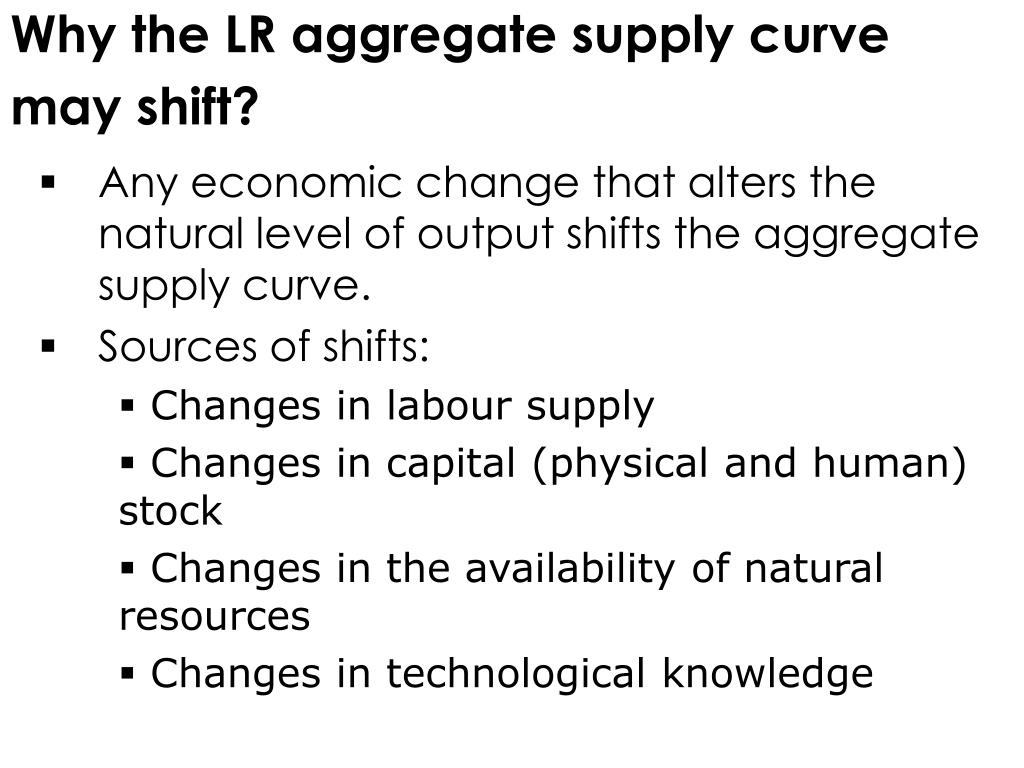 Why the LR aggregate supply curve may shift?