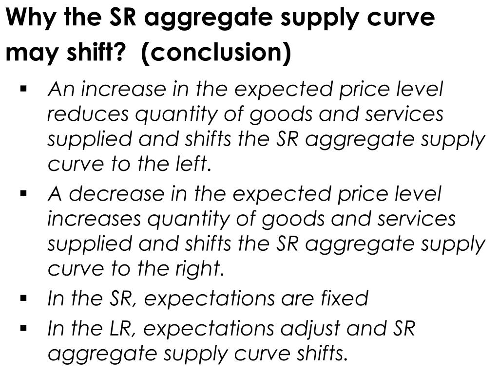 Why the SR aggregate supply curve may shift?  (conclusion)