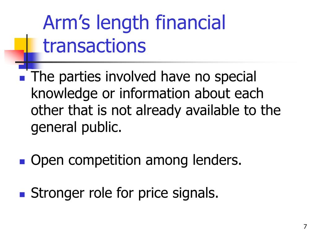 Arm's length financial transactions