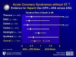 acute coronary syndromes without st evidence for heparin use ufh asa versus asa