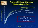 primary efficacy outcome death mi at 30 days