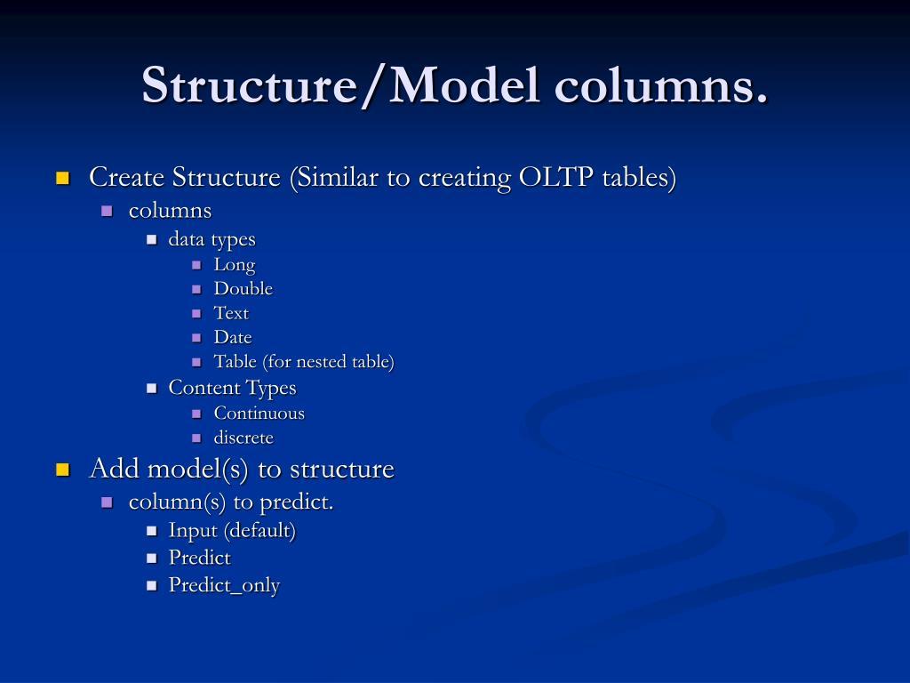 Structure/Model columns.