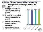 a larger okun gap would be caused by a larger lucas wedge would be caused by