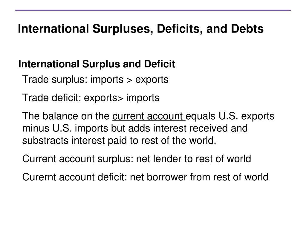 International Surpluses, Deficits, and Debts
