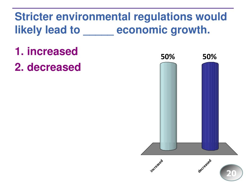Stricter environmental regulations would likely lead to _____ economic growth.