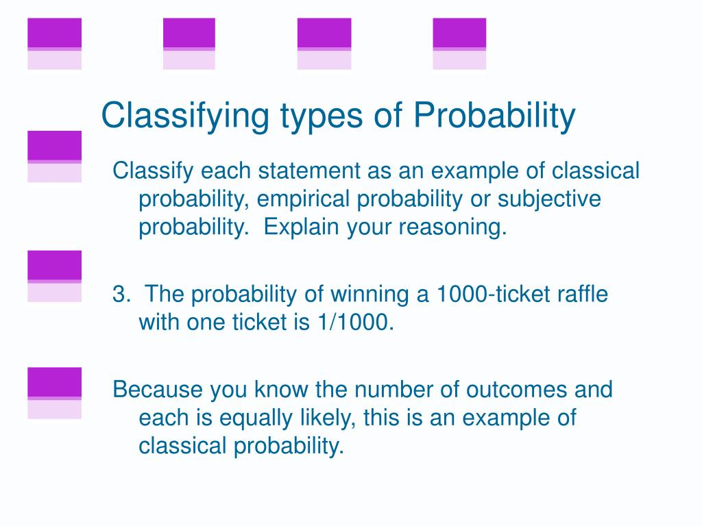 Classifying types of Probability