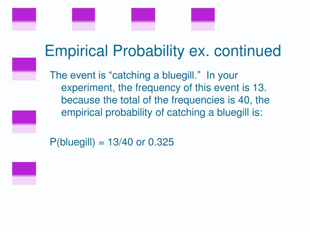 Empirical Probability ex. continued