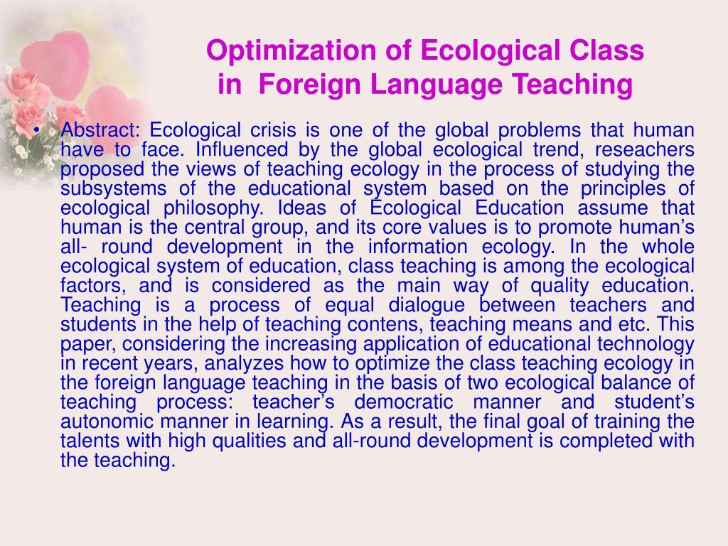 Optimization of Ecological Class