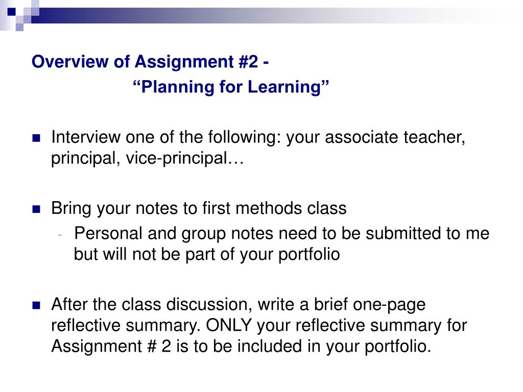 Overview of Assignment #2 -
