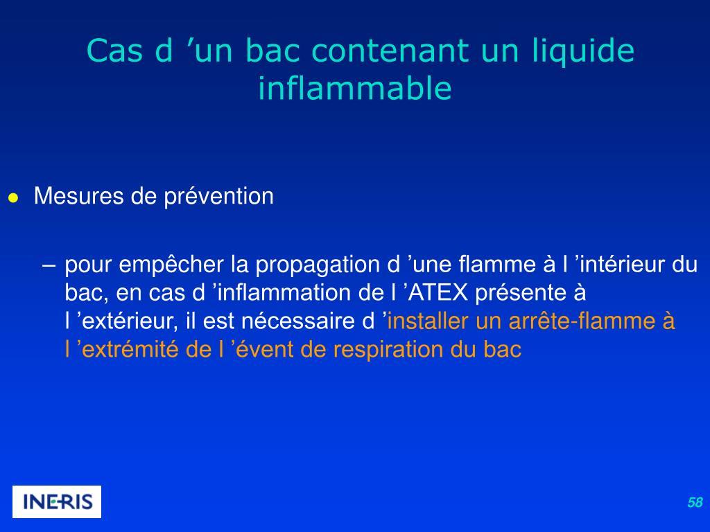 Cas d'un bac contenant un liquide inflammable
