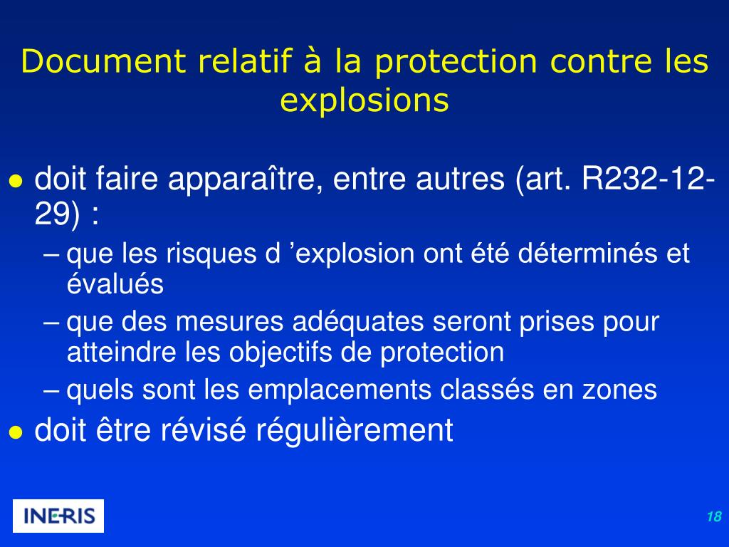 Document relatif à la protection contre les explosions