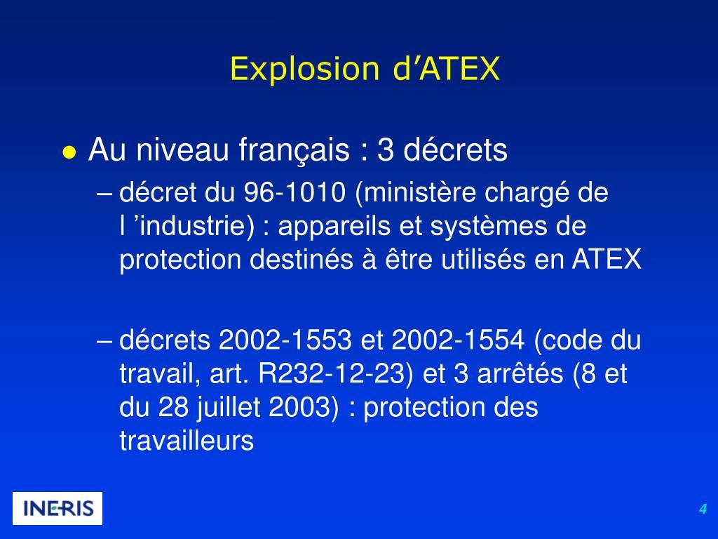 Explosion d'ATEX