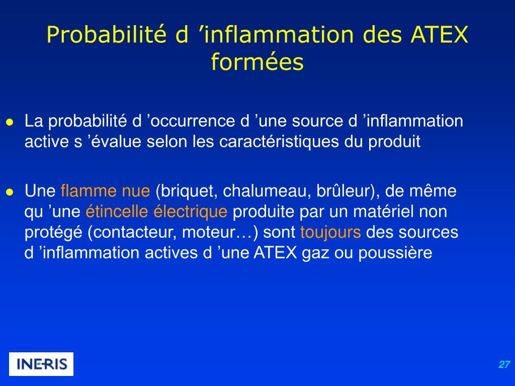 Probabilité d'inflammation des ATEX formées