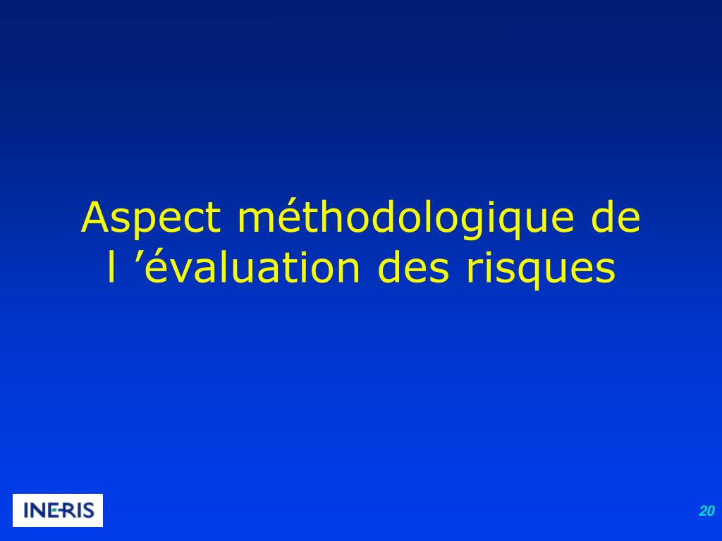 Aspect méthodologique de l'évaluation des risques