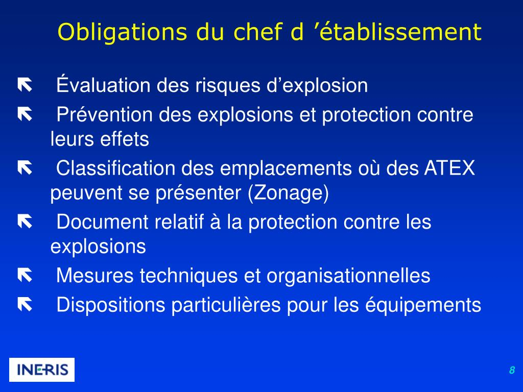 Obligations du chef d 'établissement