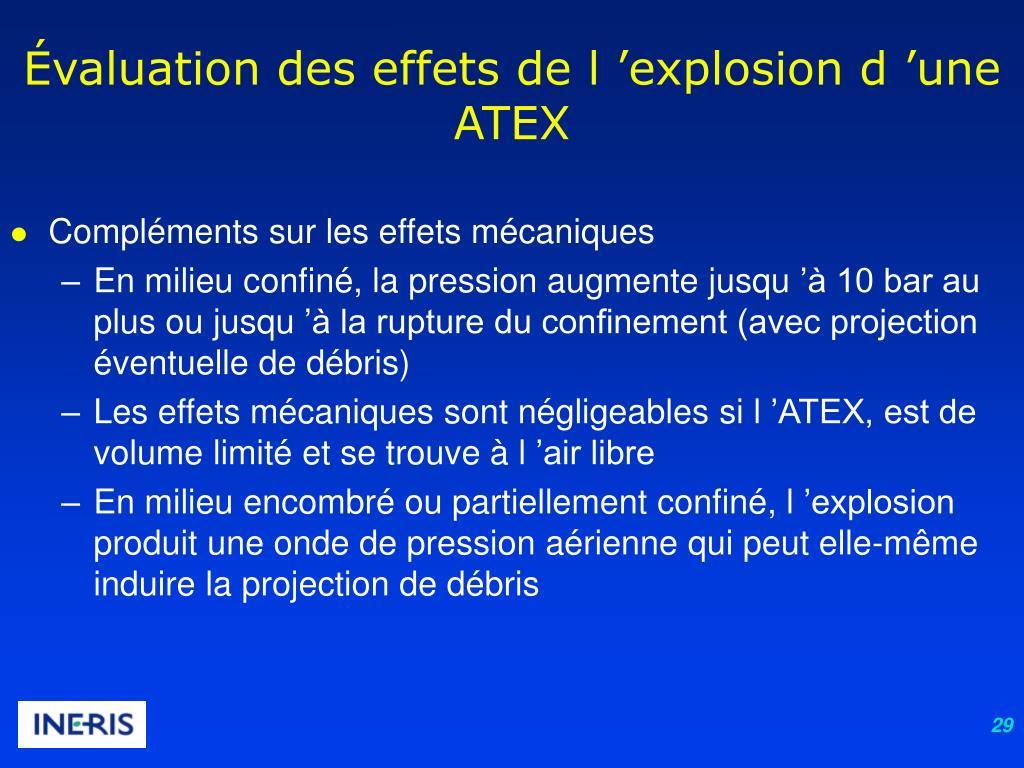 Évaluation des effets de l'explosion d'une ATEX